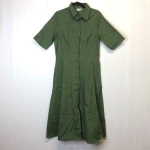 eshakti Midi Dress Fit-Flare Pockets Olive Green L